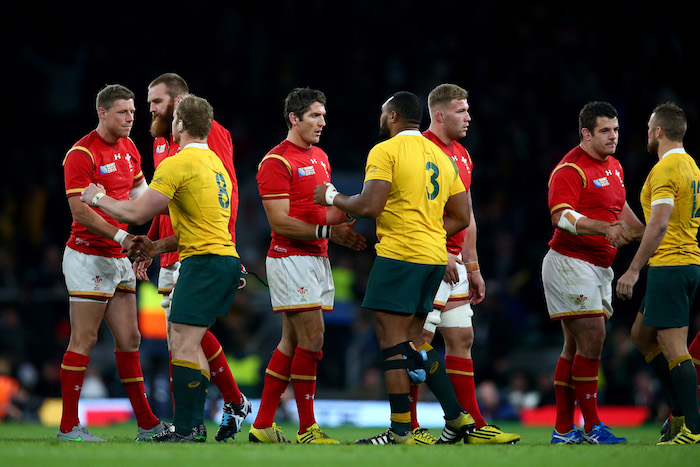 LONDON, ENGLAND - OCTOBER 10: The players shake hands after the 2015 Rugby World Cup Pool A match between Australia and Wales at Twickenham Stadium on October 10, 2015 in London, United Kingdom. (Photo by Paul Gilham/Getty Images)