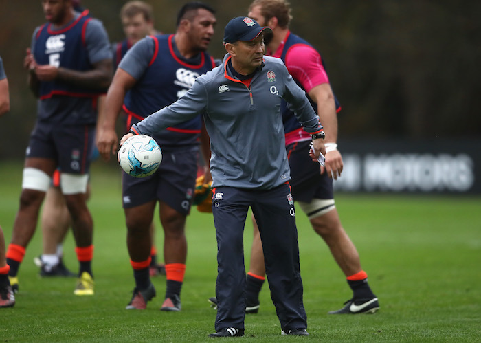 BAGSHOT, ENGLAND - NOVEMBER 15:  Eddie Jones, the England head coach looks on during the England training session held at Pennyhill Park on November 15, 2016 in Bagshot, England.  (Photo by David Rogers/Getty Images)