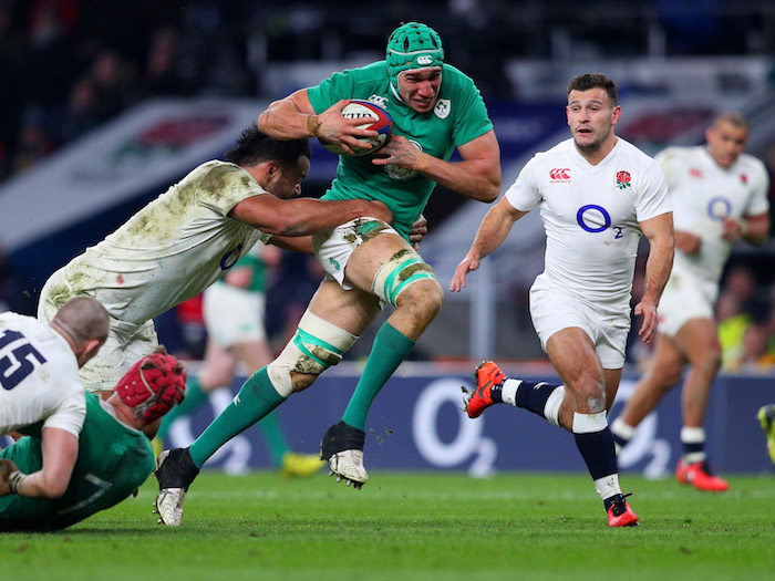 LONDON, ENGLAND - FEBRUARY 27: Ultan Dillane of Ireland is tackled short of the tryline during the RBS Six Nations match between England and Ireland at Twickenham Stadium on February 27, 2016 in London, England. (Photo by Clive Mason/Getty Images)