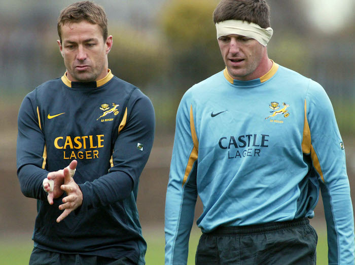 EDINBURGH - NOVEMBER 12: Corne Krige and Jannes Labuschagne of South Africa in action during a rugby training session held in Edinburgh, Scotland on November 12, 2002. (Photo by Touchline Photo/Getty Images) Touchline Photo images are available to clients in the UK, USA and Australia only.